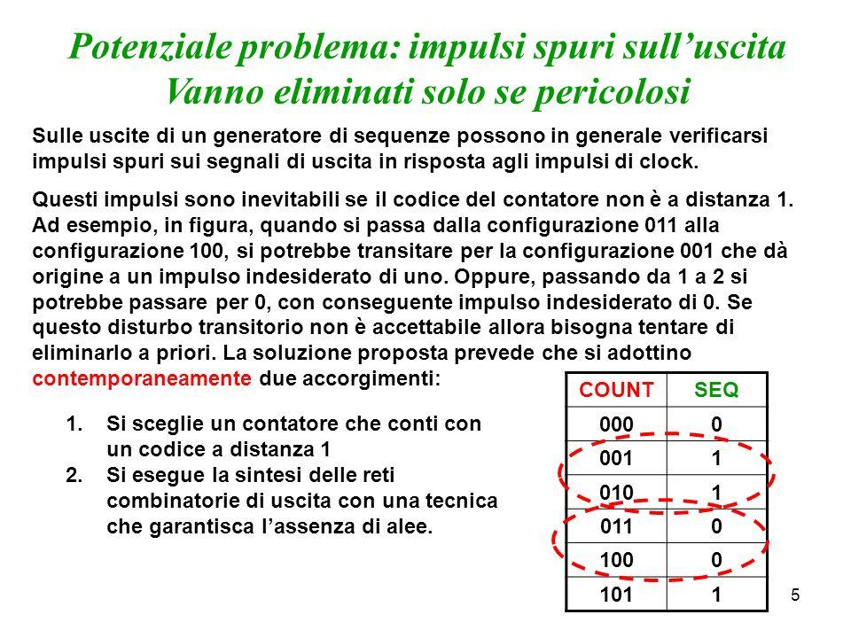 5 Potenziale problema: impulsi spuri sulluscita Vanno eliminati solo se pericolosi Sulle uscite di un generatore di sequenze possono in generale verificarsi impulsi spuri sui segnali di uscita in risposta agli impulsi di clock.