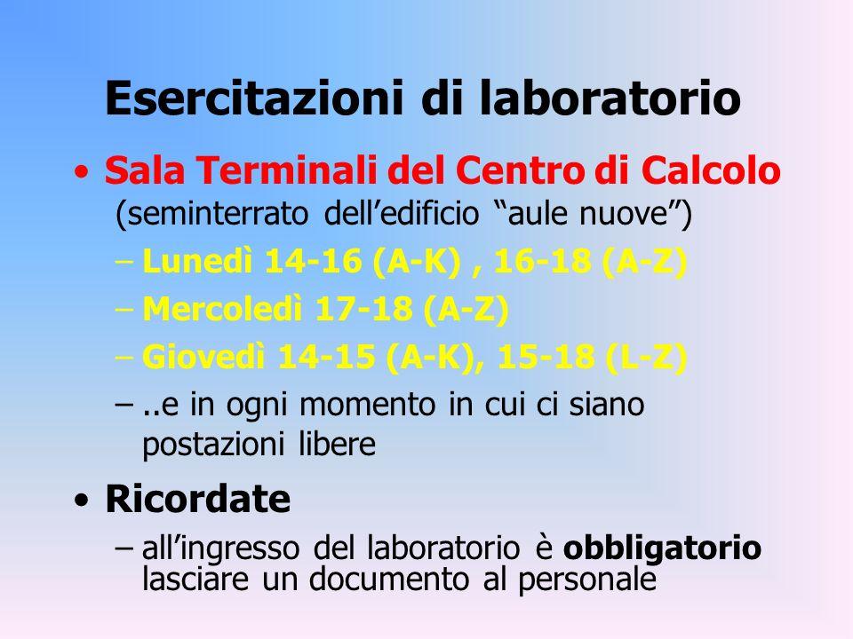 Esercitazioni di laboratorio Sala Terminali del Centro di Calcolo (seminterrato delledificio aule nuove) –Lunedì 14-16 (A-K), 16-18 (A-Z) –Mercoledì 1