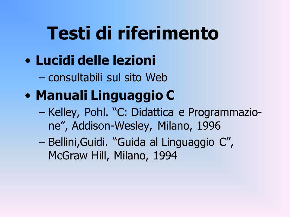 Testi di riferimento Lucidi delle lezioni –consultabili sul sito Web Manuali Linguaggio C –Kelley, Pohl. C: Didattica e Programmazio- ne, Addison-Wesl