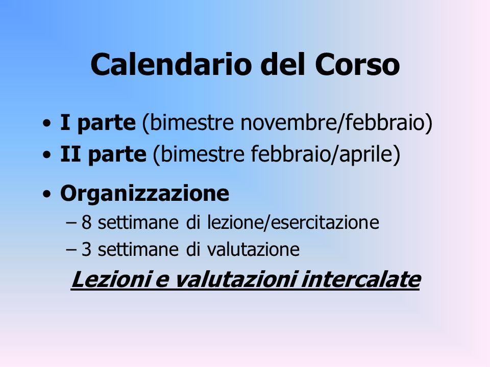 Calendario del Corso I parte (bimestre novembre/febbraio) II parte (bimestre febbraio/aprile) Organizzazione –8 settimane di lezione/esercitazione –3
