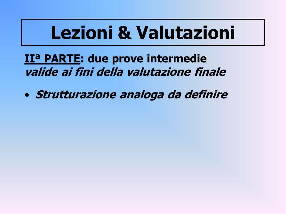 Lezioni & Valutazioni IIª PARTE: due prove intermedie valide ai fini della valutazione finale Strutturazione analoga da definire
