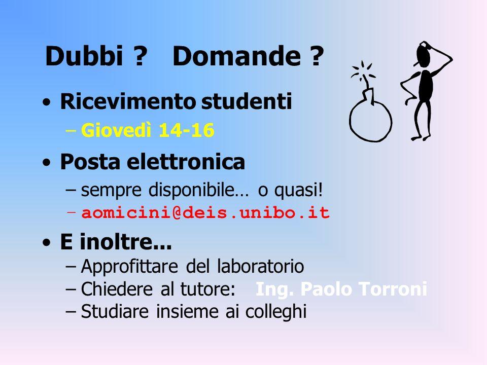 Dubbi ? Domande ? Ricevimento studenti –Giovedì 14-16 Posta elettronica –sempre disponibile… o quasi! –aomicini@deis.unibo.it E inoltre... –Approfitta