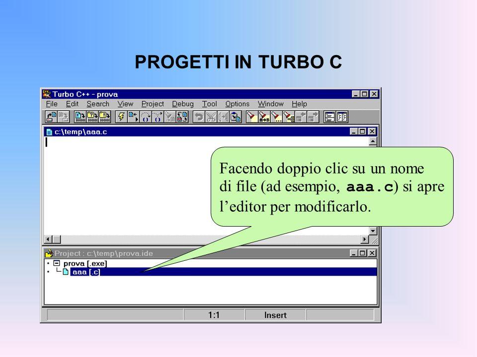 PROGETTI IN TURBO C Facendo doppio clic su un nome di file (ad esempio, aaa.c ) si apre leditor per modificarlo.