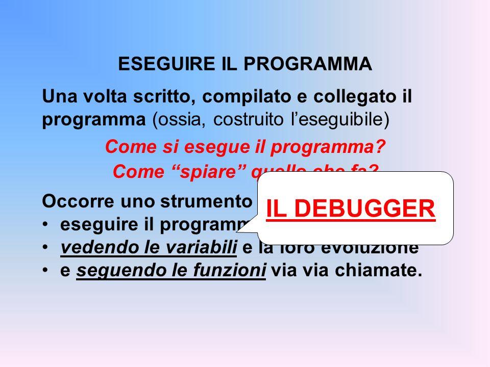 Una volta scritto, compilato e collegato il programma (ossia, costruito leseguibile) Come si esegue il programma? Come spiare quello che fa? Occorre u
