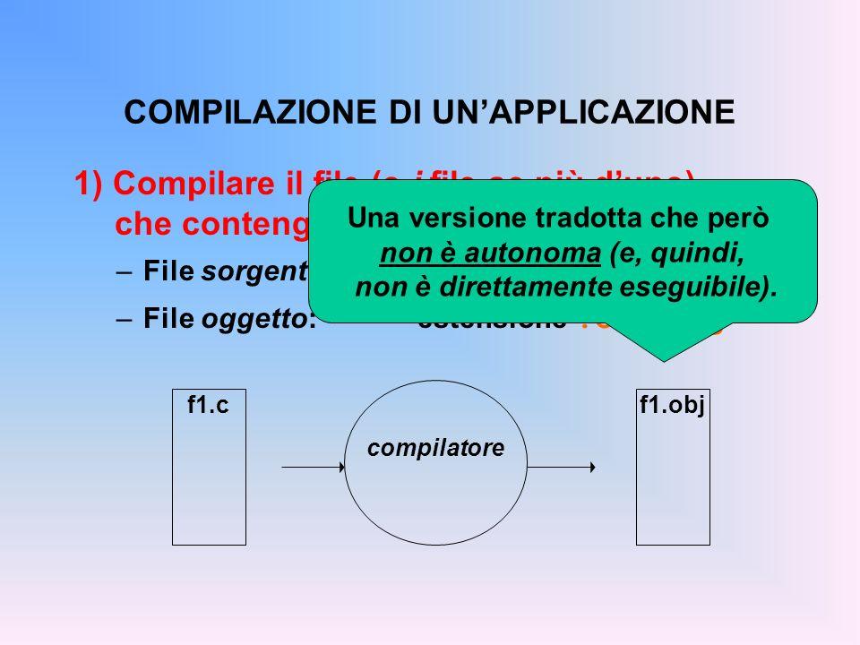 1) Compilare il file (o i file se più duno) che contengono il testo del programma –File sorgente:estensione.c –File oggetto:estensione.o o.obj COMPILAZIONE DI UNAPPLICAZIONE f1.cf1.obj compilatore Una versione tradotta che però non è autonoma (e, quindi, non è direttamente eseguibile).