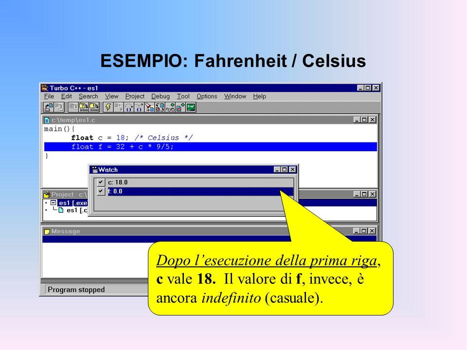 ESEMPIO: Fahrenheit / Celsius Dopo lesecuzione della prima riga, c vale 18. Il valore di f, invece, è ancora indefinito (casuale).