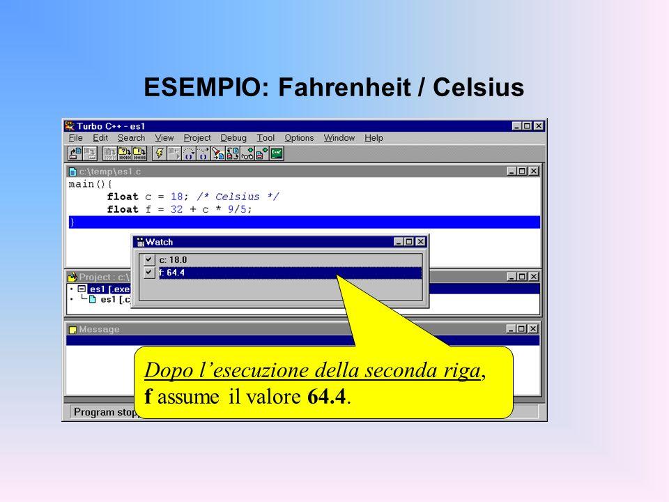 ESEMPIO: Fahrenheit / Celsius Dopo lesecuzione della seconda riga, f assume il valore 64.4.