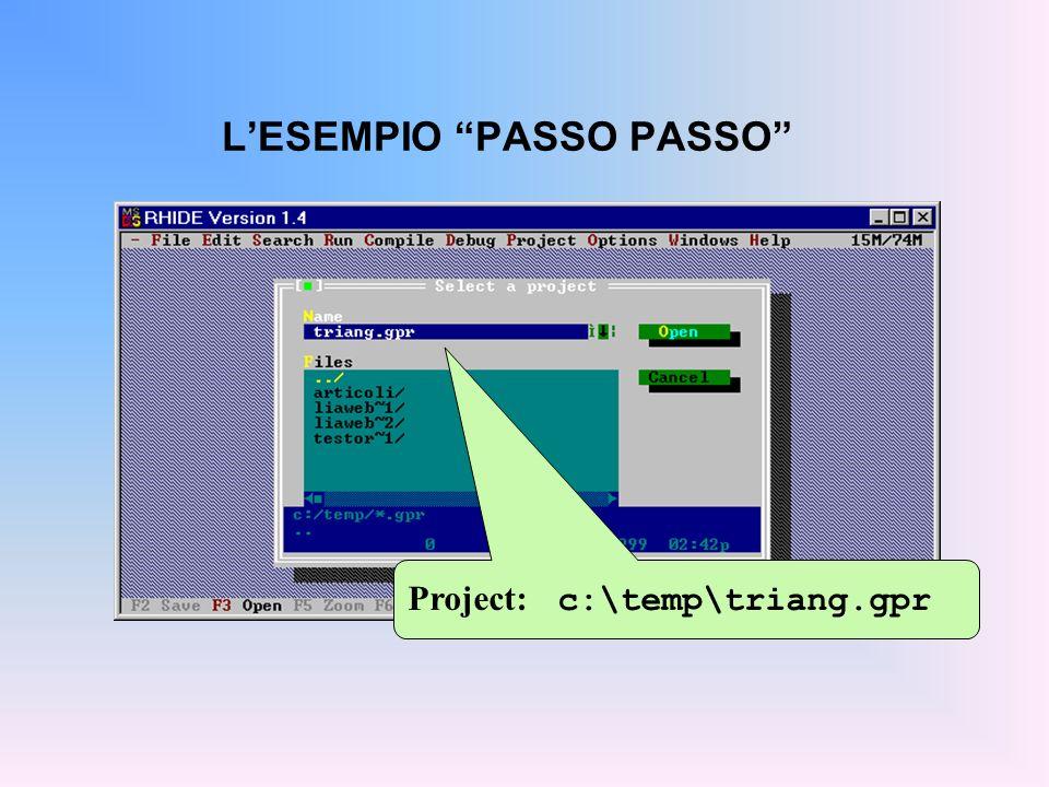 LESEMPIO PASSO PASSO Project: c:\temp\triang.gpr