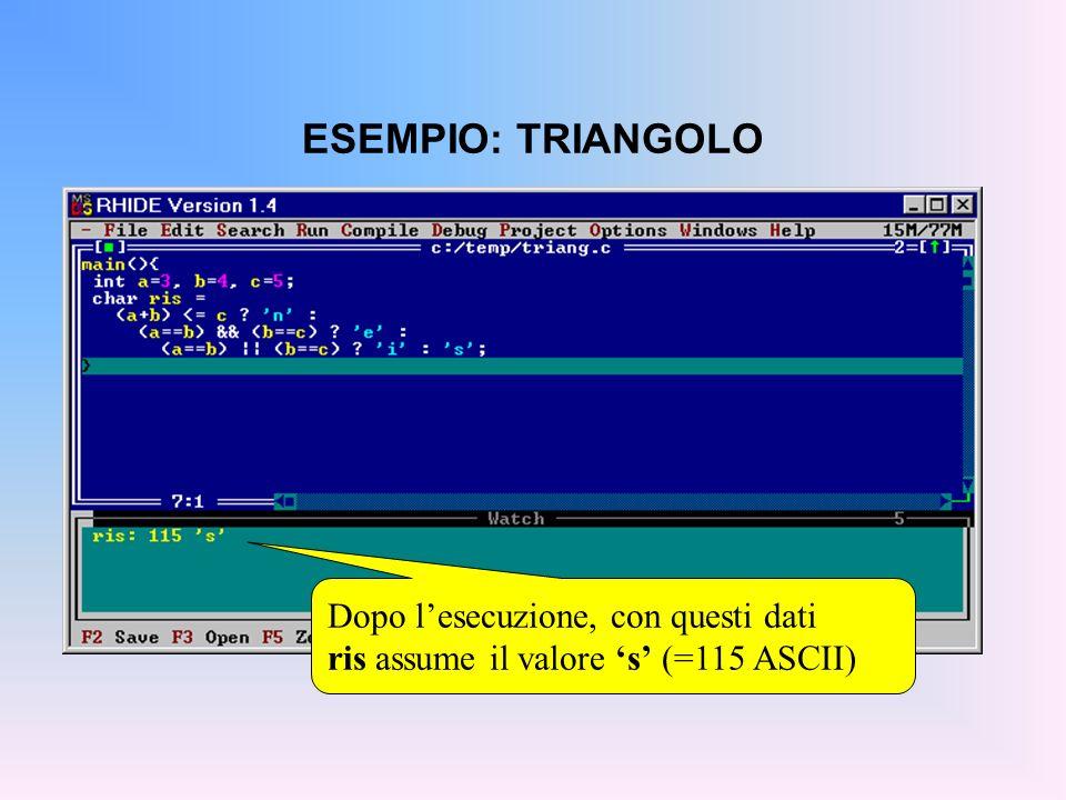 ESEMPIO: TRIANGOLO Dopo lesecuzione, con questi dati ris assume il valore s (=115 ASCII)