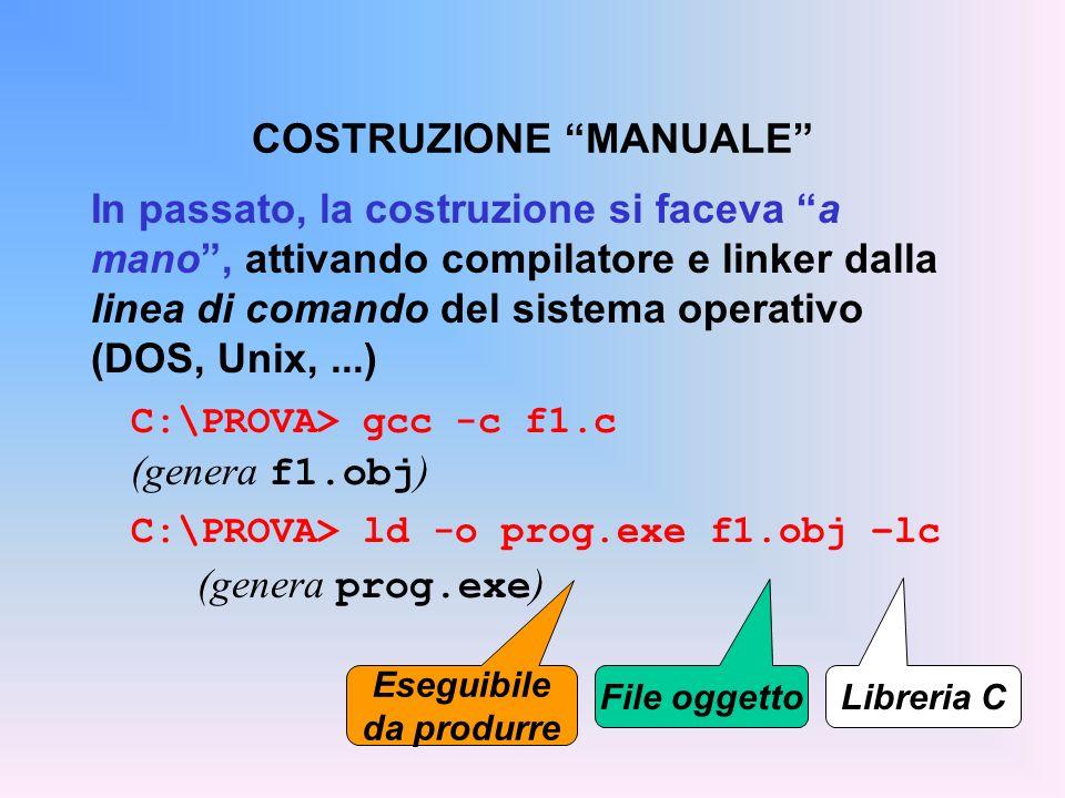 In passato, la costruzione si faceva a mano, attivando compilatore e linker dalla linea di comando del sistema operativo (DOS, Unix,...) C:\PROVA> gcc -c f1.c (genera f1.obj ) C:\PROVA> ld -o prog.exe f1.obj –lc (genera prog.exe ) COSTRUZIONE MANUALE Libreria C File oggetto Eseguibile da produrre