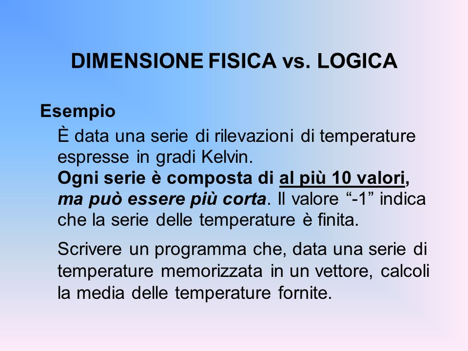 DIMENSIONE FISICA vs.
