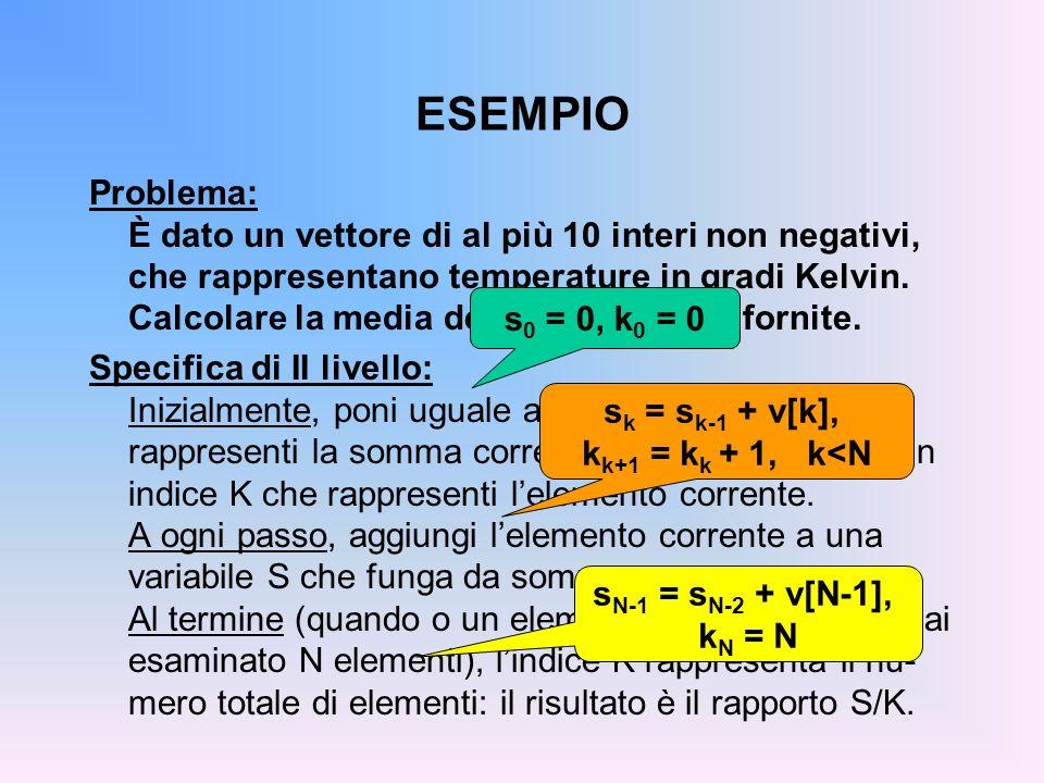ESEMPIO Problema: È dato un vettore di al più 10 interi non negativi, che rappresentano temperature in gradi Kelvin. Calcolare la media delle temperat