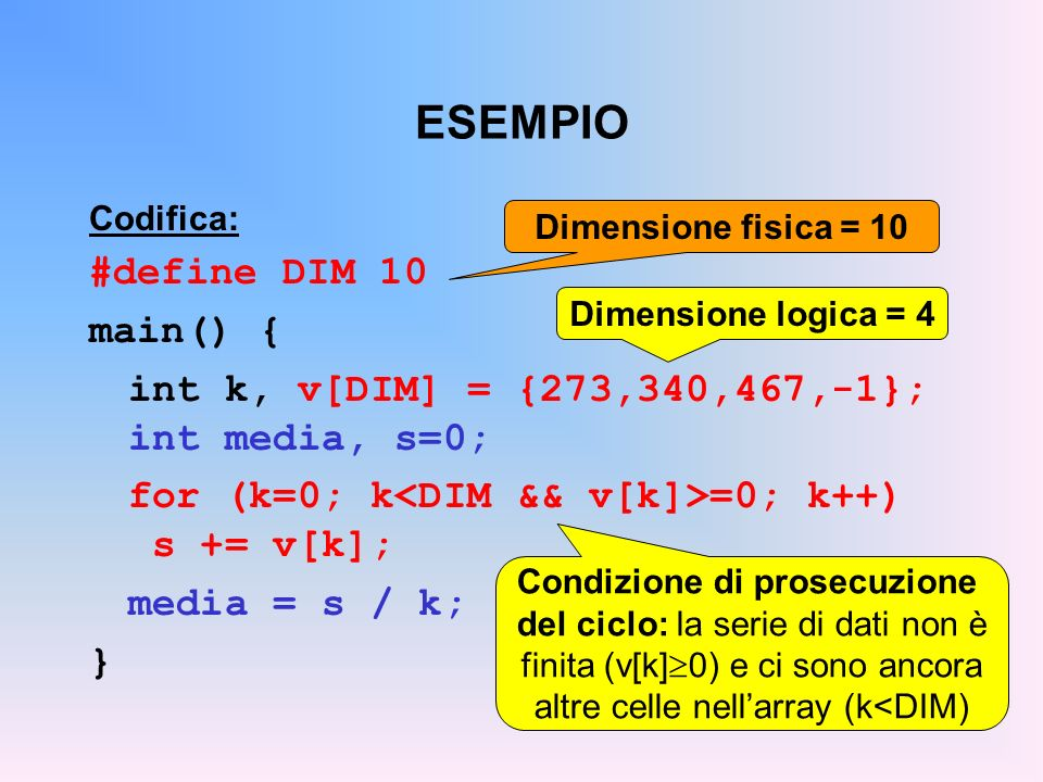 ESEMPIO Codifica: #define DIM 10 main() { int k, v[DIM] = {273,340,467,-1}; int media, s=0; for (k=0; k =0; k++) s += v[k]; media = s / k; } Dimension