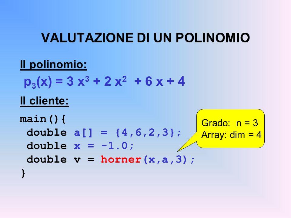 VALUTAZIONE DI UN POLINOMIO Il polinomio: p 3 (x) = 3 x 3 + 2 x 2 + 6 x + 4 Il cliente: main(){ double a[] = {4,6,2,3}; double x = -1.0; double v = horner(x,a,3); } Grado: n = 3 Array: dim = 4