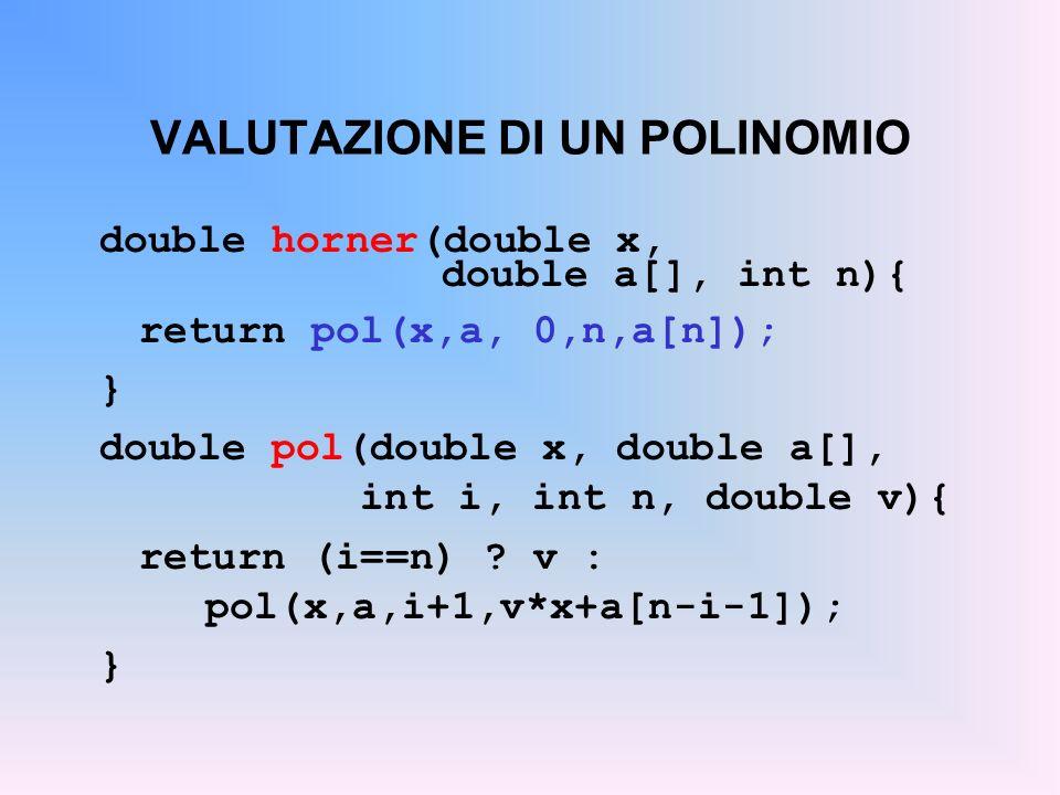 VALUTAZIONE DI UN POLINOMIO double horner(double x, double a[], int n){ return pol(x,a, 0,n,a[n]); } double pol(double x, double a[], int i, int n, double v){ return (i==n) .