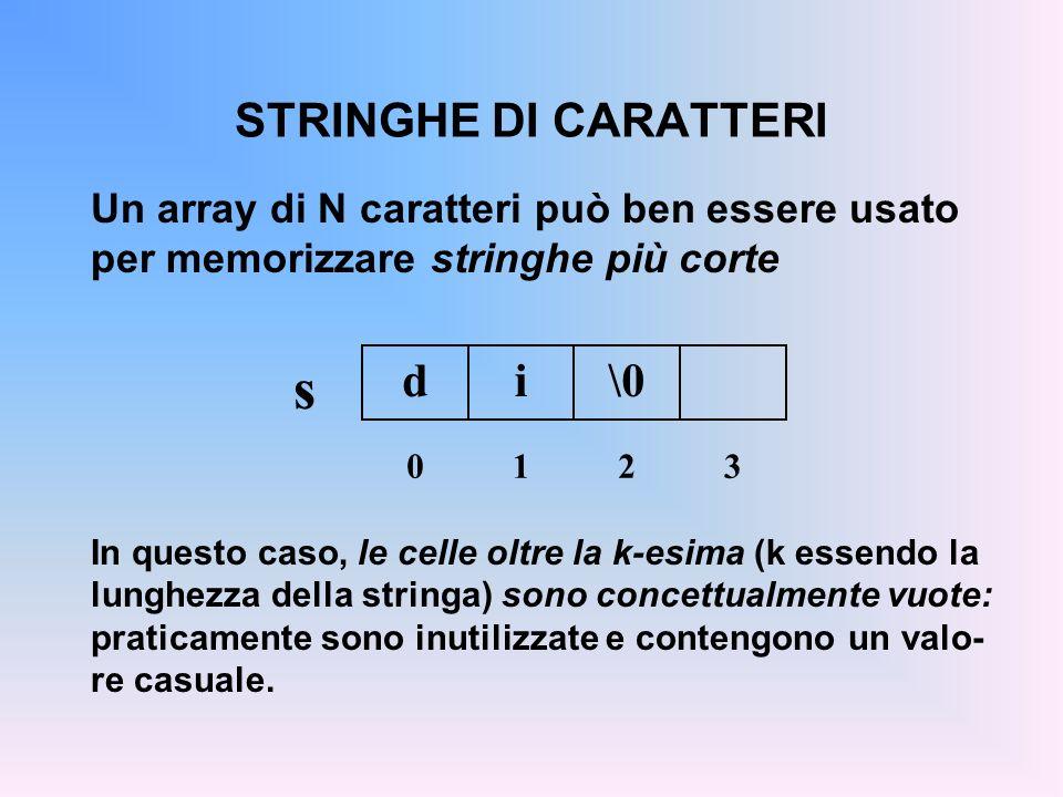 STRINGHE DI CARATTERI Un array di N caratteri può ben essere usato per memorizzare stringhe più corte In questo caso, le celle oltre la k-esima (k ess