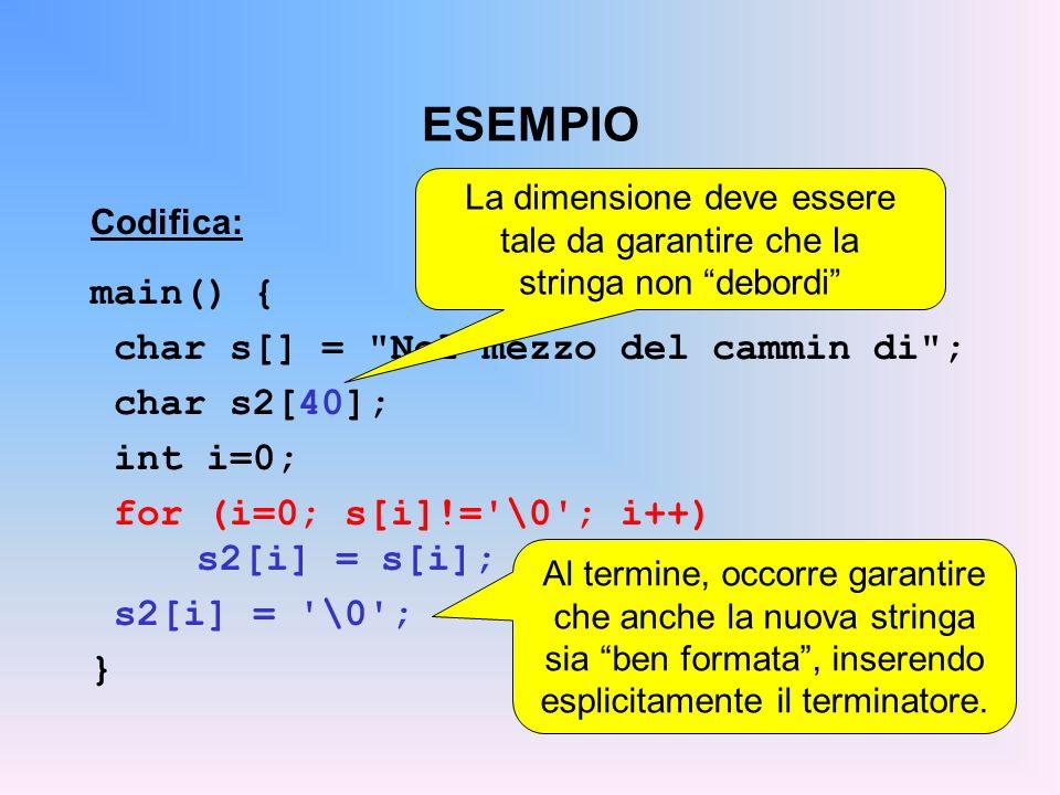 ESEMPIO Codifica: main() { char s[] = Nel mezzo del cammin di ; char s2[40]; int i=0; for (i=0; s[i]!= \0 ; i++) s2[i] = s[i]; s2[i] = \0 ; } La dimensione deve essere tale da garantire che la stringa non debordi Al termine, occorre garantire che anche la nuova stringa sia ben formata, inserendo esplicitamente il terminatore.