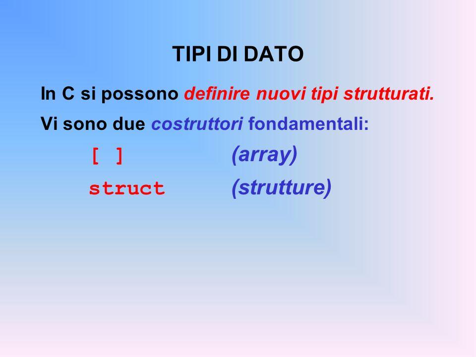 TIPI DI DATO In C si possono definire nuovi tipi strutturati. Vi sono due costruttori fondamentali: [ ] (array) struct (strutture)