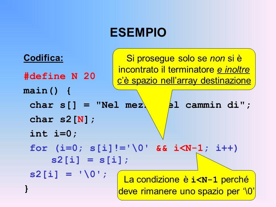 ESEMPIO Codifica: #define N 20 main() { char s[] = Nel mezzo del cammin di ; char s2[N]; int i=0; for (i=0; s[i]!= \0 && i<N-1; i++) s2[i] = s[i]; s2[i] = \0 ; } Si prosegue solo se non si è incontrato il terminatore e inoltre cè spazio nellarray destinazione La condizione è i<N-1 perché deve rimanere uno spazio per \0