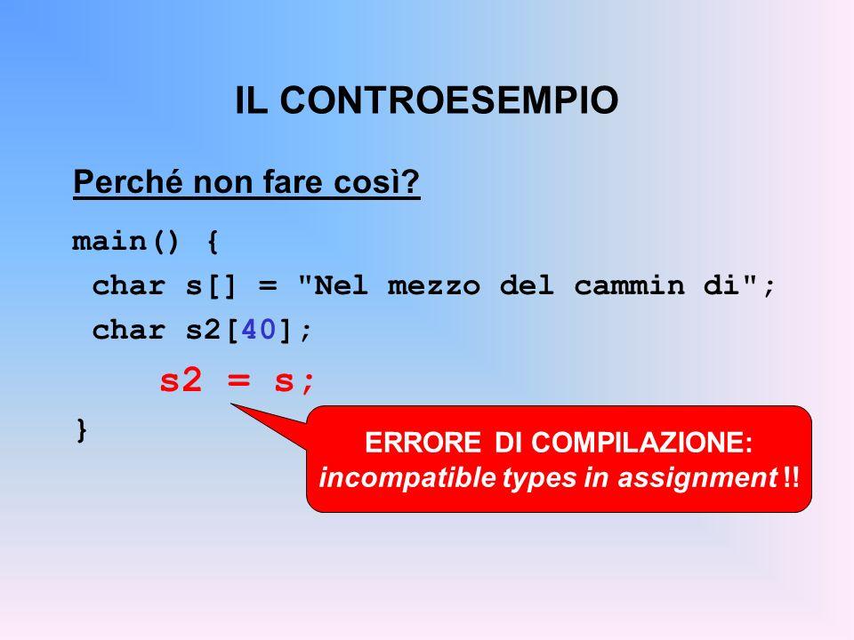 IL CONTROESEMPIO Perché non fare così? main() { char s[] =