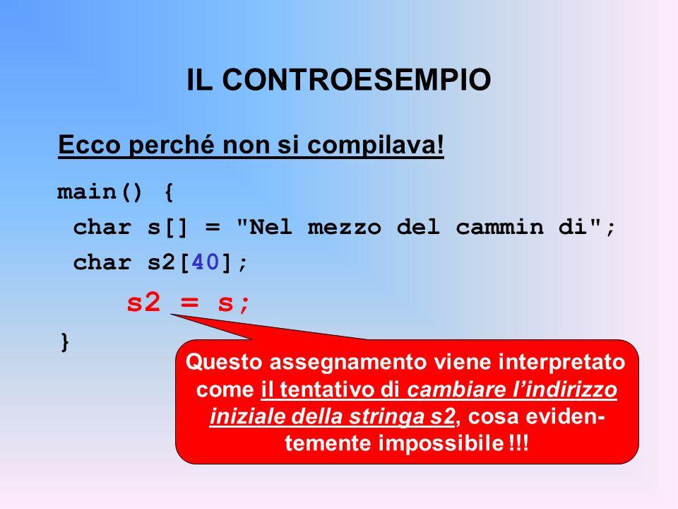 IL CONTROESEMPIO Ecco perché non si compilava! main() { char s[] =