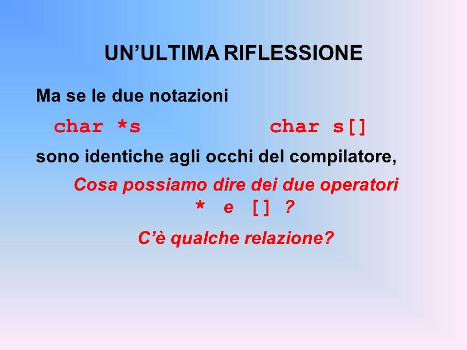 UNULTIMA RIFLESSIONE Ma se le due notazioni char *schar s[] sono identiche agli occhi del compilatore, Cosa possiamo dire dei due operatori * e [] ? C