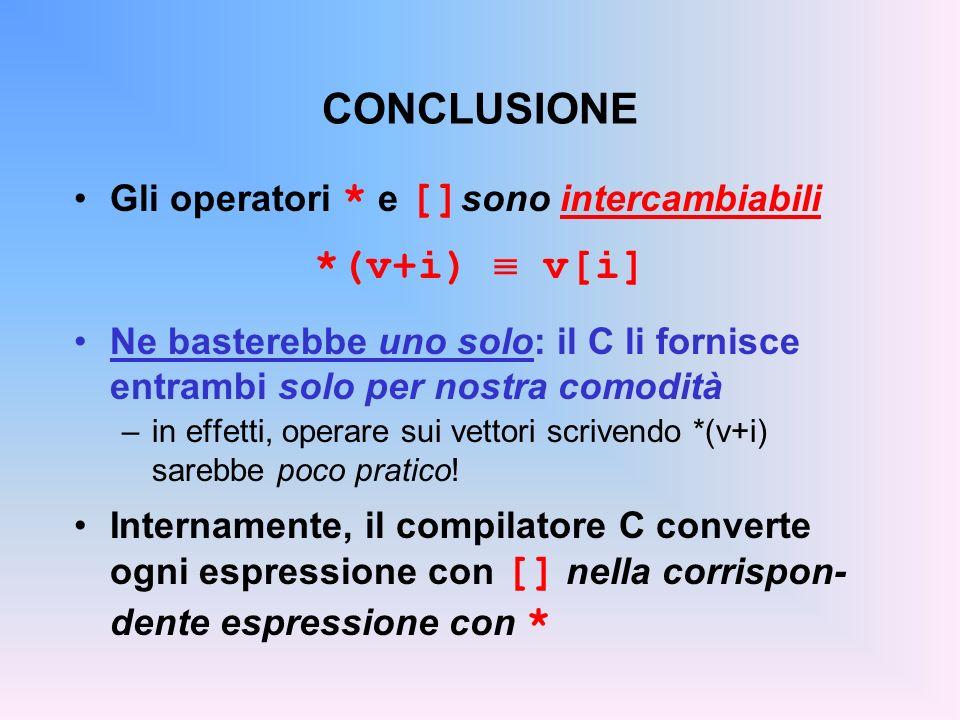 CONCLUSIONE Gli operatori * e [] sono intercambiabili *(v+i) v[i] Ne basterebbe uno solo: il C li fornisce entrambi solo per nostra comodità –in effetti, operare sui vettori scrivendo *(v+i) sarebbe poco pratico.