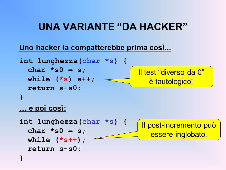 UNA VARIANTE DA HACKER Uno hacker la compatterebbe prima così... int lunghezza(char *s) { char *s0 = s; while (*s) s++; return s-s0; } … e poi così: i