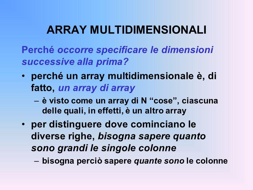 ARRAY MULTIDIMENSIONALI Perché occorre specificare le dimensioni successive alla prima? perché un array multidimensionale è, di fatto, un array di arr