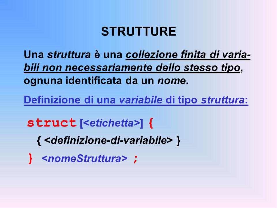 STRUTTURE Una struttura è una collezione finita di varia- bili non necessariamente dello stesso tipo, ognuna identificata da un nome. Definizione di u