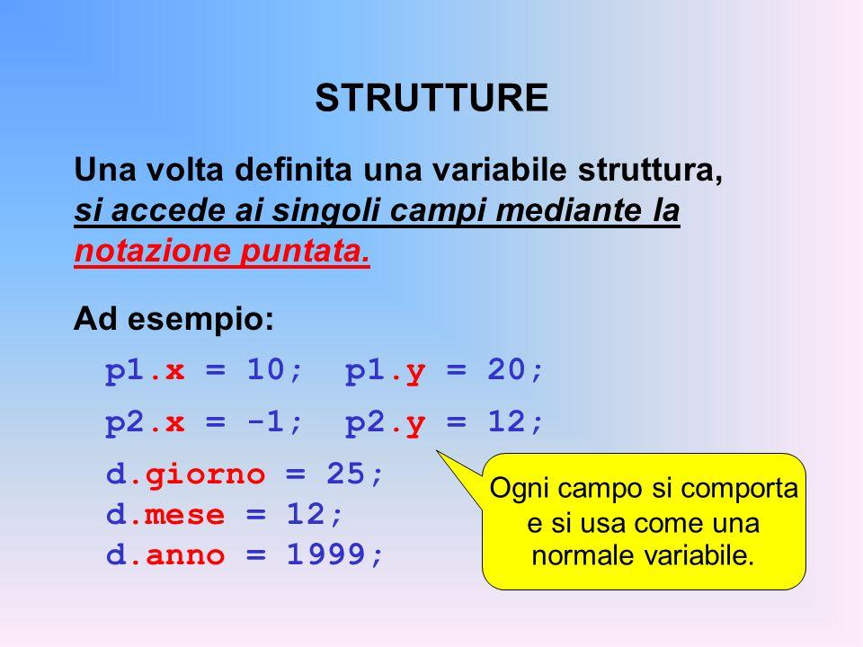 STRUTTURE Una volta definita una variabile struttura, si accede ai singoli campi mediante la notazione puntata. Ad esempio: p1.x = 10; p1.y = 20; p2.x