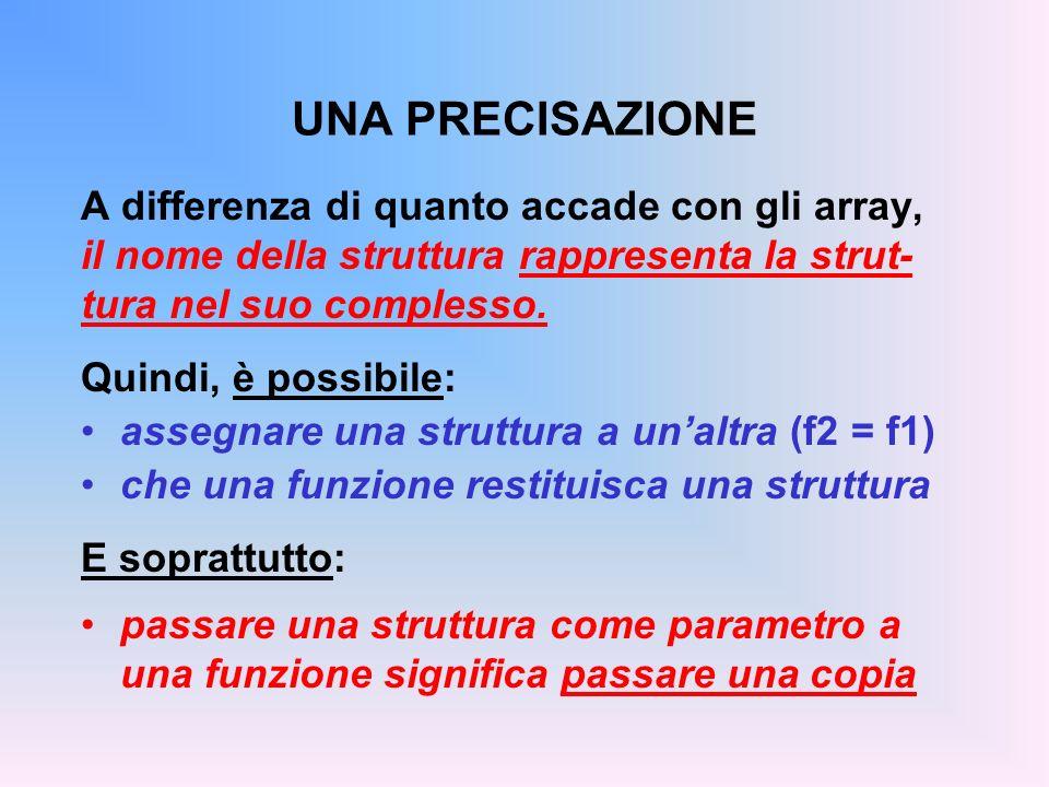 UNA PRECISAZIONE A differenza di quanto accade con gli array, il nome della struttura rappresenta la strut- tura nel suo complesso. Quindi, è possibil