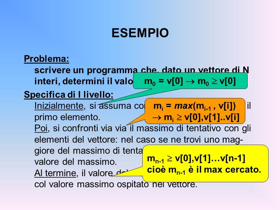 ESEMPIO Problema: scrivere un programma che, dato un vettore di N interi, determini il valore massimo. Specifica di I livello: Inizialmente, si assuma
