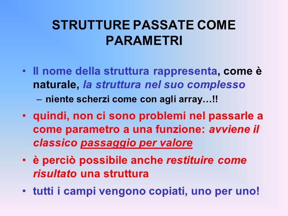 STRUTTURE PASSATE COME PARAMETRI Il nome della struttura rappresenta, come è naturale, la struttura nel suo complesso –niente scherzi come con agli ar