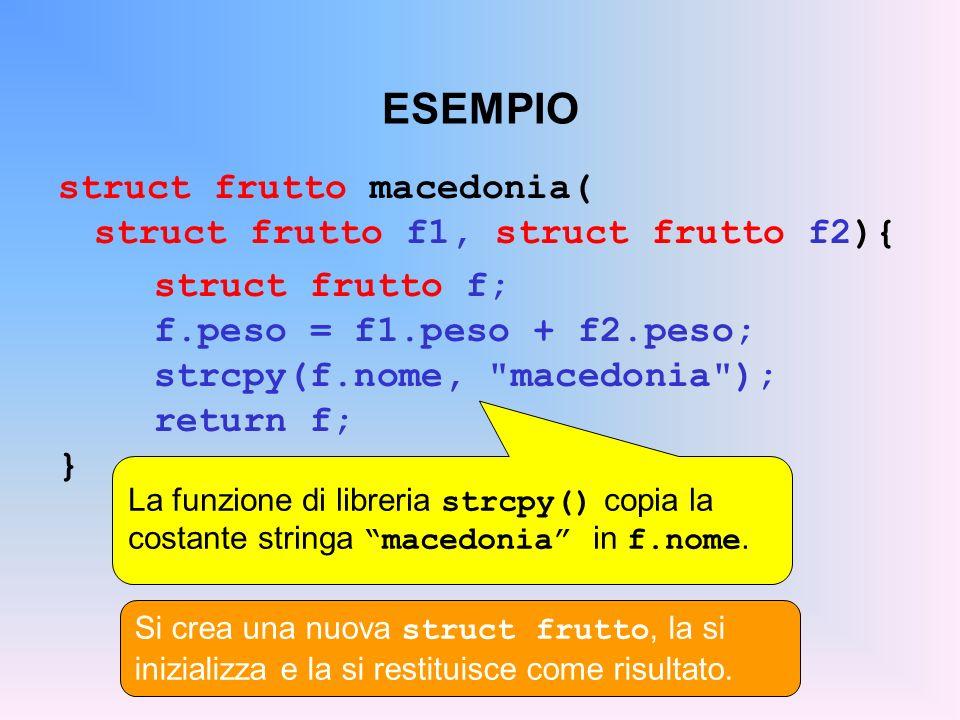 ESEMPIO struct frutto macedonia( struct frutto f1, struct frutto f2){ struct frutto f; f.peso = f1.peso + f2.peso; strcpy(f.nome,