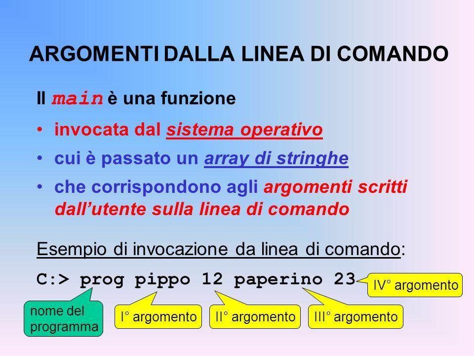 ARGOMENTI DALLA LINEA DI COMANDO Il main è una funzione invocata dal sistema operativo cui è passato un array di stringhe che corrispondono agli argomenti scritti dallutente sulla linea di comando Esempio di invocazione da linea di comando: C:> prog pippo 12 paperino 23 I° argomento nome del programma II° argomento III° argomento IV° argomento