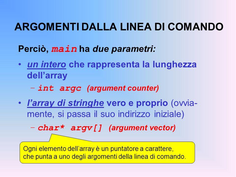 ARGOMENTI DALLA LINEA DI COMANDO Perciò, main ha due parametri: un intero che rappresenta la lunghezza dellarray –int argc (argument counter) larray di stringhe vero e proprio (ovvia- mente, si passa il suo indirizzo iniziale) –char* argv[] (argument vector) Ogni elemento dellarray è un puntatore a carattere, che punta a uno degli argomenti della linea di comando.