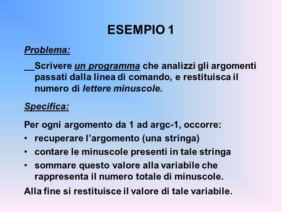 ESEMPIO 1 Problema: Scrivere un programma che analizzi gli argomenti passati dalla linea di comando, e restituisca il numero di lettere minuscole. Spe
