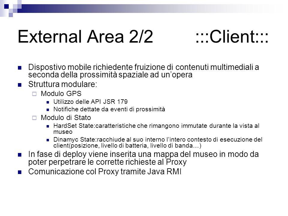 External Area 2/2 :::Client::: Dispostivo mobile richiedente fruizione di contenuti multimediali a seconda della prossimità spaziale ad unopera Struttura modulare: Modulo GPS Utilizzo delle API JSR 179 Notifiche dettate da eventi di prossimità Modulo di Stato HardSet State:caratteristiche che rimangono immutate durante la vista al museo Dinamyc State:racchiude al suo interno lintero contesto di esecuzione del client(posizione, livello di batteria, livello di banda…) In fase di deploy viene inserita una mappa del museo in modo da poter perpetrare le corrette richieste al Proxy Comunicazione col Proxy tramite Java RMI