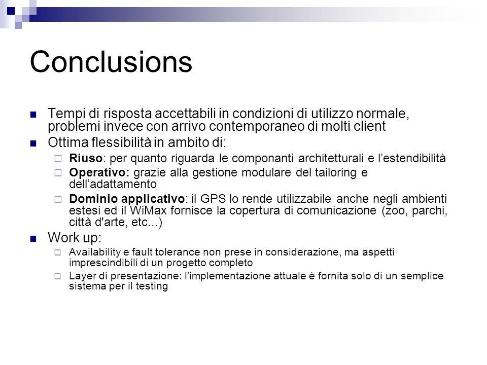 Conclusions Tempi di risposta accettabili in condizioni di utilizzo normale, problemi invece con arrivo contemporaneo di molti client Ottima flessibil