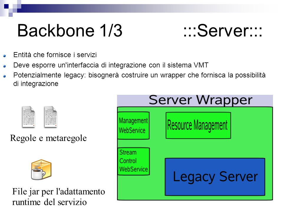 Backbone 1/3 :::Server::: Entità che fornisce i servizi Deve esporre un interfaccia di integrazione con il sistema VMT Potenzialmente legacy: bisognerà costruire un wrapper che fornisca la possibilità di integrazione Regole e metaregole File jar per l adattamento runtime del servizio