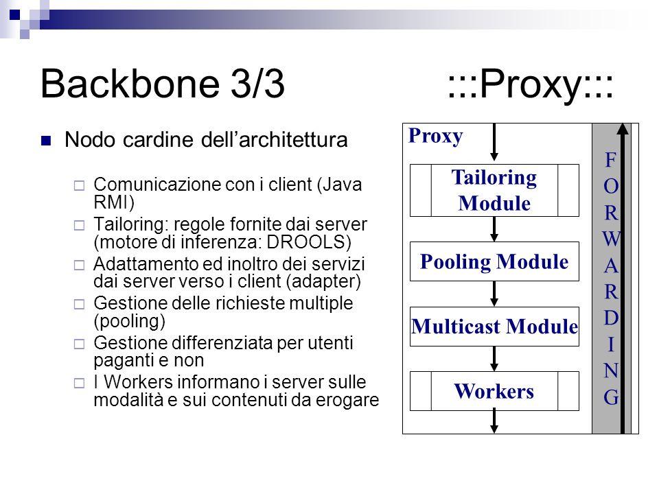 Backbone 3/3 :::Proxy::: Nodo cardine dellarchitettura Comunicazione con i client (Java RMI) Tailoring: regole fornite dai server (motore di inferenza: DROOLS) Adattamento ed inoltro dei servizi dai server verso i client (adapter) Gestione delle richieste multiple (pooling) Gestione differenziata per utenti paganti e non I Workers informano i server sulle modalità e sui contenuti da erogare Proxy Pooling Module Multicast Module Tailoring Module Workers FORWARDINGFORWARDING
