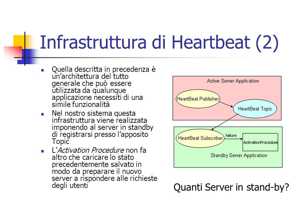 Infrastruttura di Heartbeat (2) Quella descritta in precedenza è unarchitettura del tutto generale che può essere utilizzata da qualunque applicazione necessiti di una simile funzionalità Nel nostro sistema questa infrastruttura viene realizzata imponendo al server in standby di registrarsi presso lapposito Topic LActivation Procedure non fa altro che caricare lo stato precedentemente salvato in modo da preparare il nuovo server a rispondere alle richieste degli utenti Quanti Server in stand-by