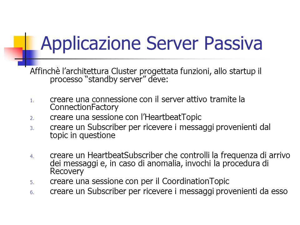 Applicazione Server Passiva Affinchè larchitettura Cluster progettata funzioni, allo startup il processo standby server deve: 1.