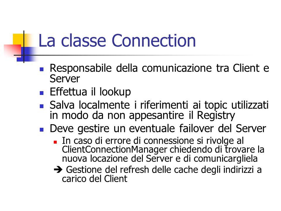 La classe Connection Responsabile della comunicazione tra Client e Server Effettua il lookup Salva localmente i riferimenti ai topic utilizzati in modo da non appesantire il Registry Deve gestire un eventuale failover del Server In caso di errore di connessione si rivolge al ClientConnectionManager chiedendo di trovare la nuova locazione del Server e di comunicargliela Gestione del refresh delle cache degli indirizzi a carico del Client