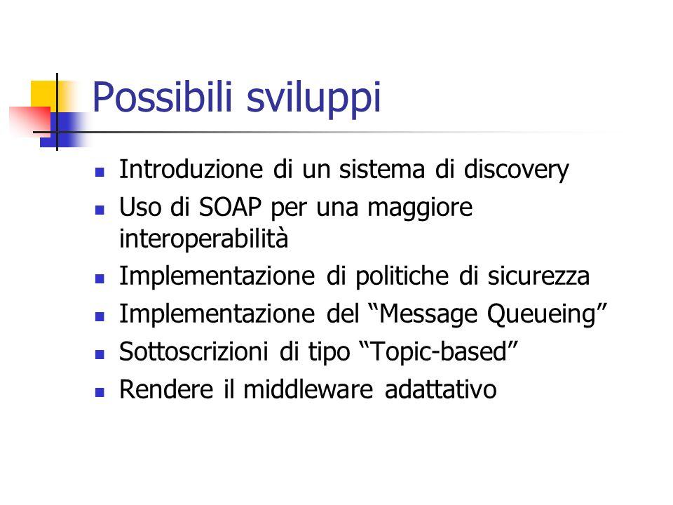 Possibili sviluppi Introduzione di un sistema di discovery Uso di SOAP per una maggiore interoperabilità Implementazione di politiche di sicurezza Implementazione del Message Queueing Sottoscrizioni di tipo Topic-based Rendere il middleware adattativo