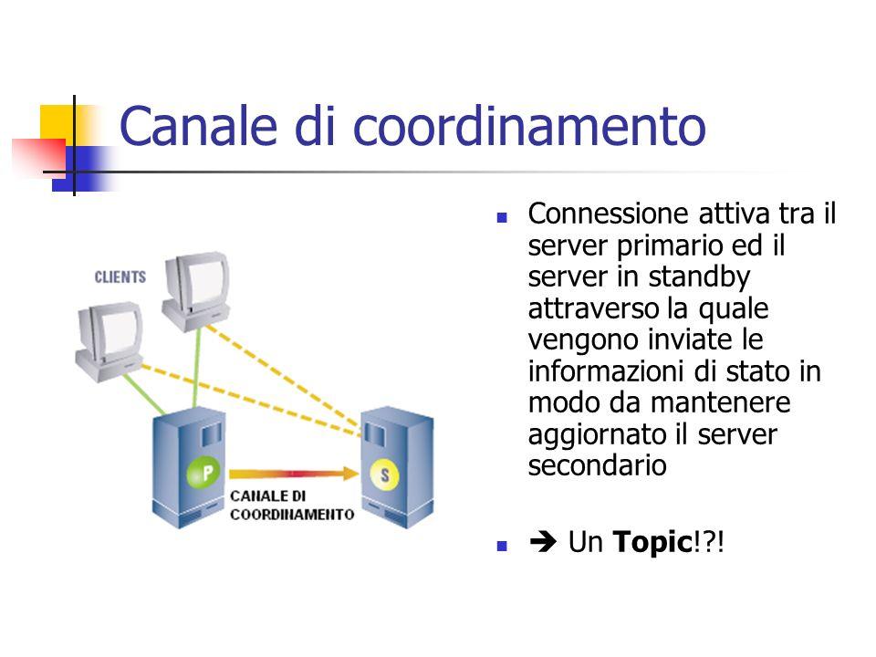 Canale di coordinamento Connessione attiva tra il server primario ed il server in standby attraverso la quale vengono inviate le informazioni di stato in modo da mantenere aggiornato il server secondario Un Topic! !