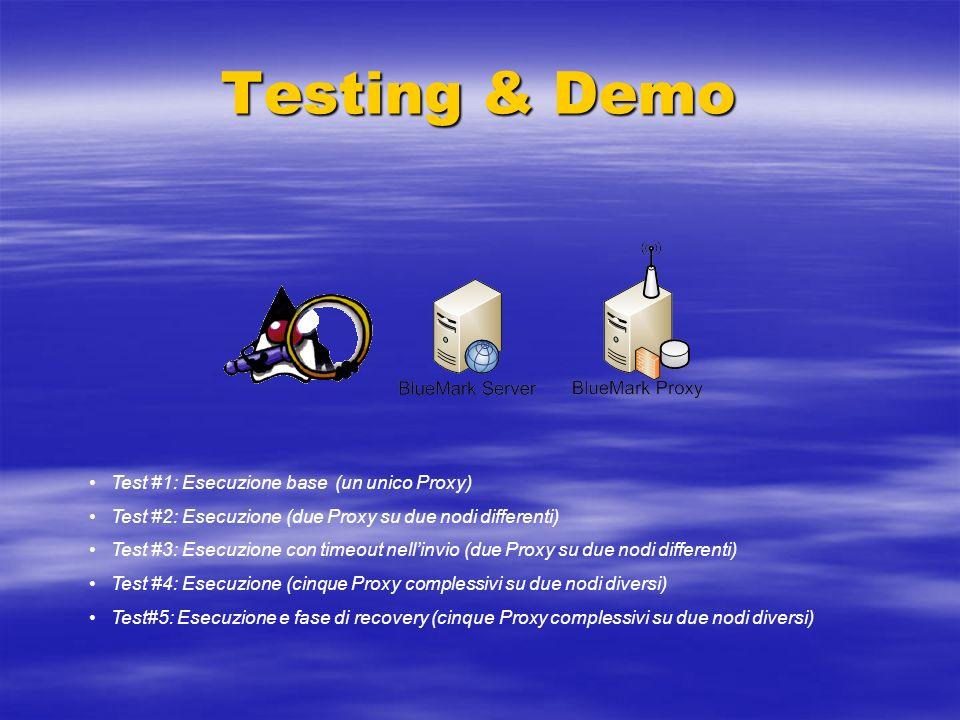 Testing & Demo Test #1: Esecuzione base (un unico Proxy) Test #2: Esecuzione (due Proxy su due nodi differenti) Test #3: Esecuzione con timeout nellin