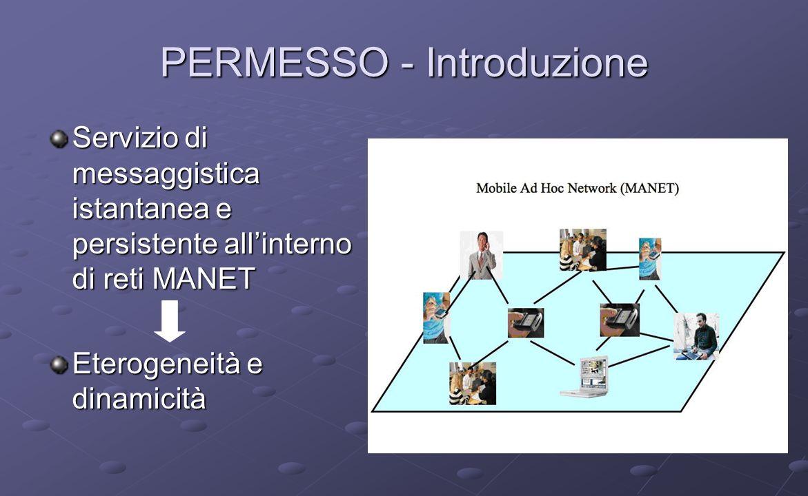 PERMESSO - Introduzione Servizio di messaggistica istantanea e persistente allinterno di reti MANET Eterogeneità e dinamicità