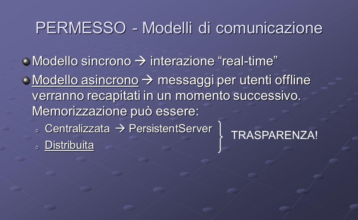 PERMESSO - Modelli di comunicazione Modello sincrono interazione real-time Modello asincrono messaggi per utenti offline verranno recapitati in un mom